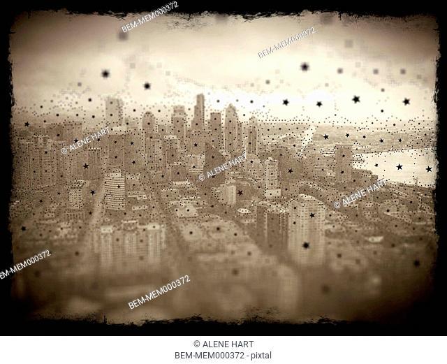 Distressed photograph of city skyline, Seattle, Washington, United States