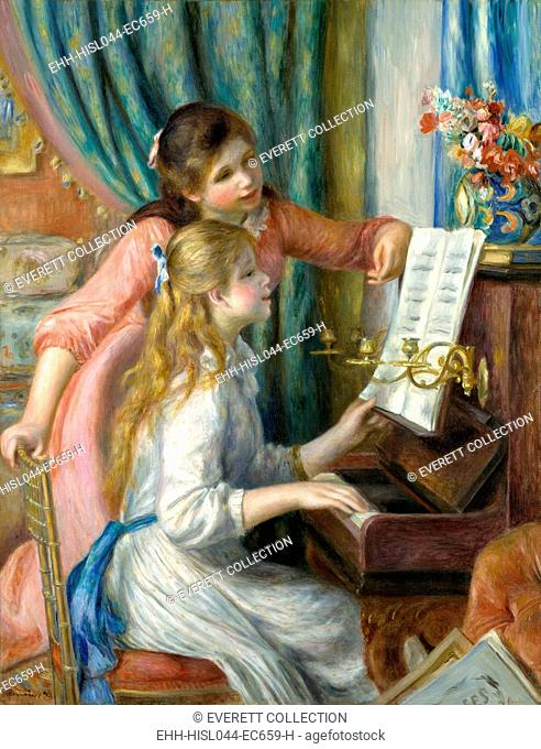 Two Young Girls at the Piano, by Auguste Renoir, 1892, French impressionist painting, oil on canvas. This was painted for the new Musee du Luxembourg