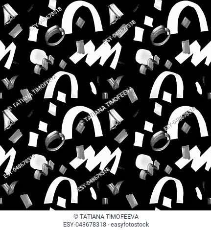 Black and white graphic seamless pattern with geometric shapes. Illustration drawn by hand