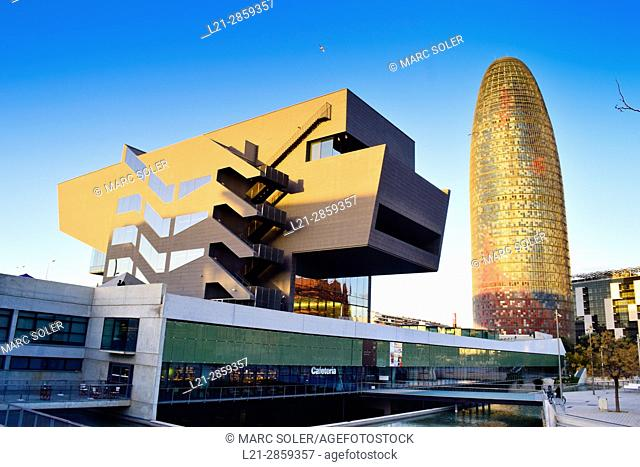 Disseny Hub Barcelona, Design Hub Barcelona, DHUB, made by MBM Arquitectes. Agbar Tower designed by French architect Jean Nouvel