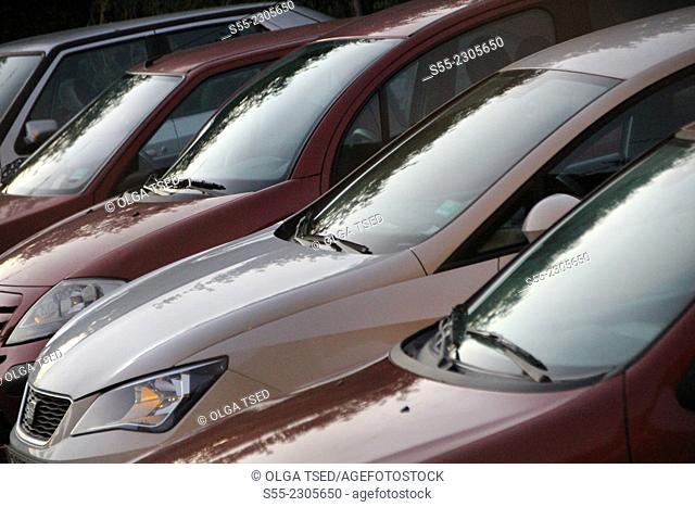 Cars parked in the street parking, Esplugues de Llobregat, Barcelona province, Catalonia, Spain