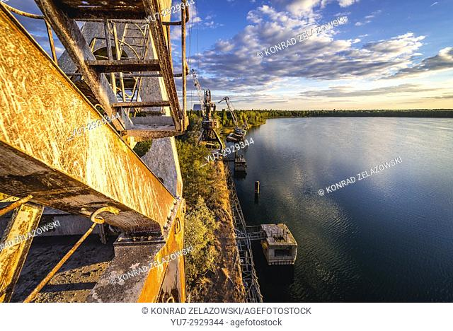 View from rusty crane over Yanov Backwater in Chernobyl Nuclear Power Plant Zone of Alienation around the nuclear reactor disaster in Ukraine