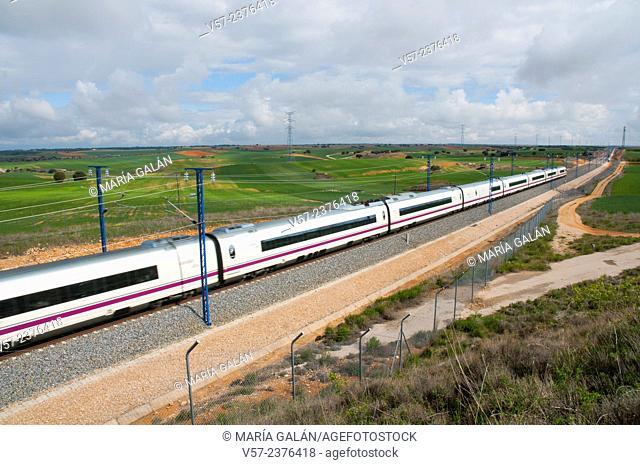 AVE high-speed train travelling along La Alcarria. Guadalajara province, Castilla La Mancha, Spain