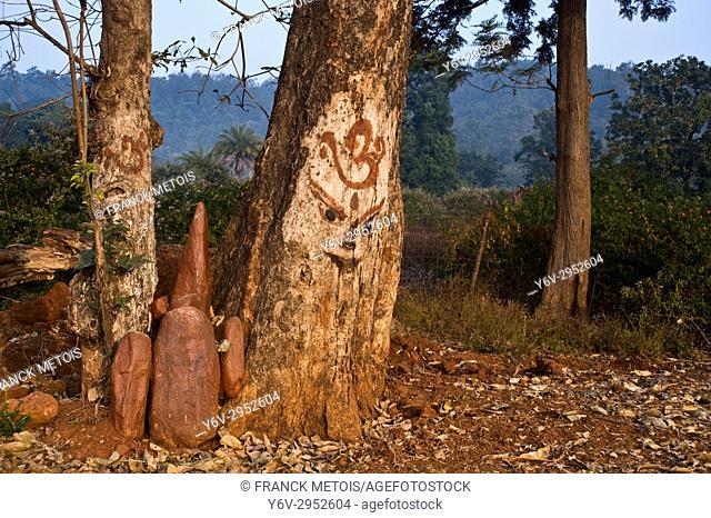 Tribal altar dedicated to god Thakurani ( Kandhamal district, Odisha state, India)