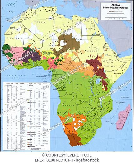 Map showing ethnology and linguistic groups of Africa that conflict with national boundaries, based on European colonization