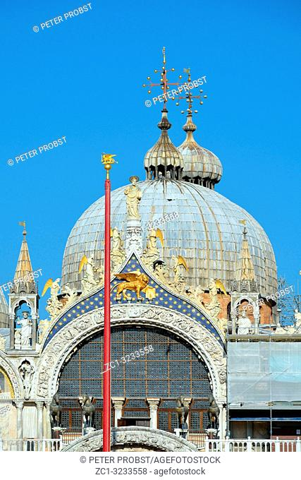 Detail of facade of St. Mark's Basilica of Venice - Italy