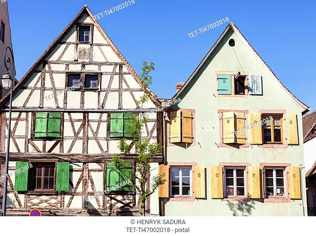 France, Grand Est, Colmar, Half-timbered cottage