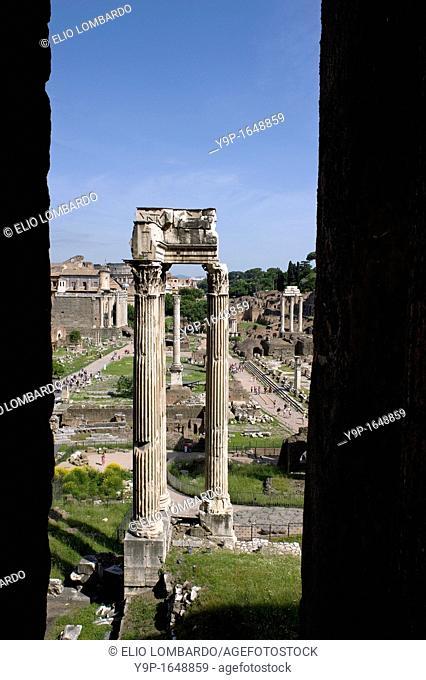 Temple of Vespasian and Titus in the Roman Forum, Rome, Latium, Italy
