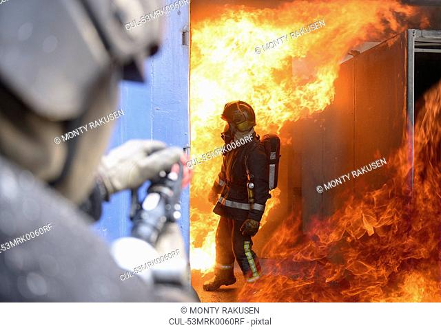 Firefighters in simulation training