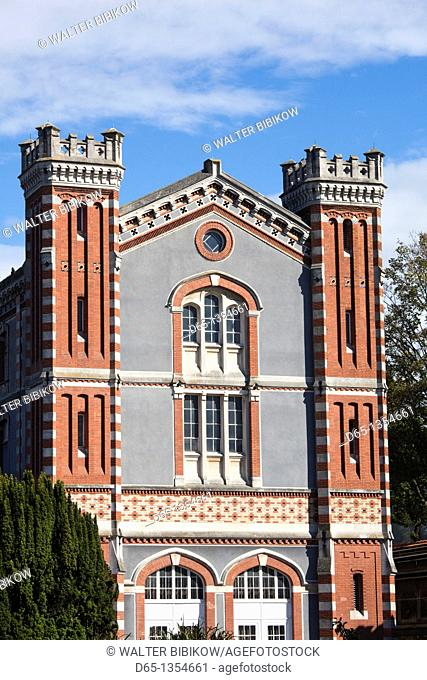 France, Marne, Champagne Ardenne, Reims, Pommery champagne winery, winery building