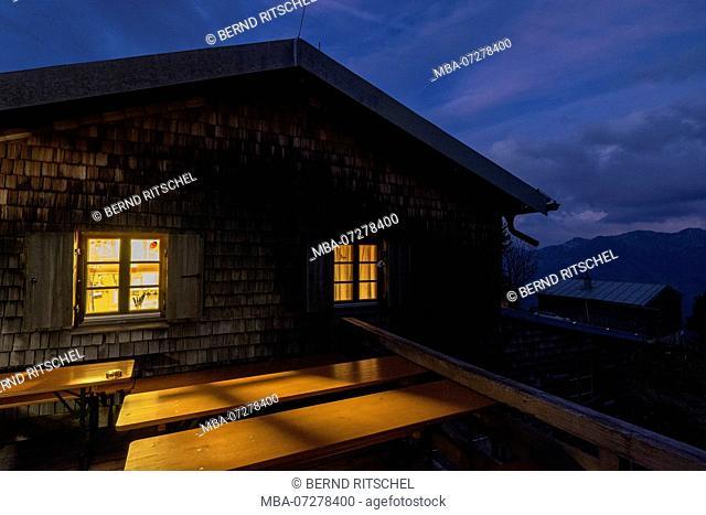 Brunnenkopfhütte (hut) in the evening, Ammergau Alps, Upper Bavaria, Bavaria, Germany