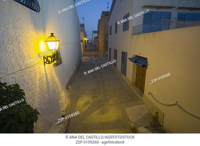 Street in Tabarca by night, is an islet located in the Mediterranean Sea, close to the town of Santa Pola, in the province of Alicante, Valencian community