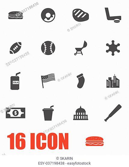 Vector grey usa icon set. USA Icon Object, USA Icon Picture, USA Icon Image, USA Icon Graphic, USA Icon JPG, USA Icon EPS, USA Icon AI - stock vector