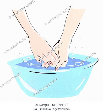 Female hands in wash bowl