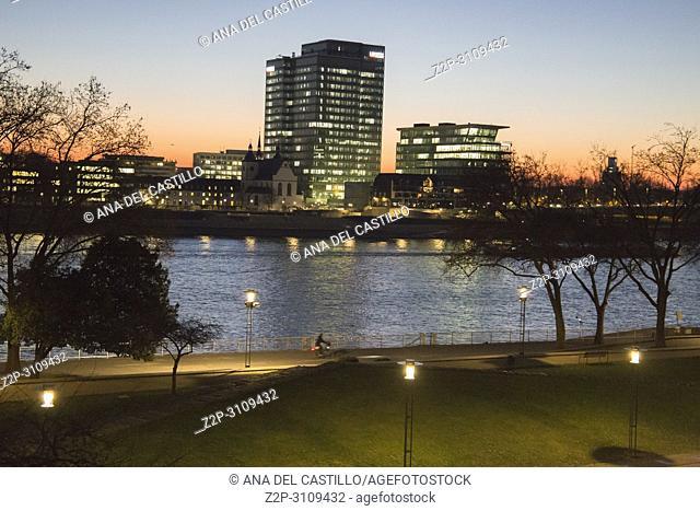Sunrise over Rhine river in Cologne in Germany