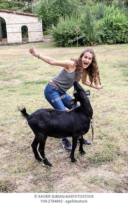Girl and goat, Arbanasi, Velico Tarnovo, Bulgaria