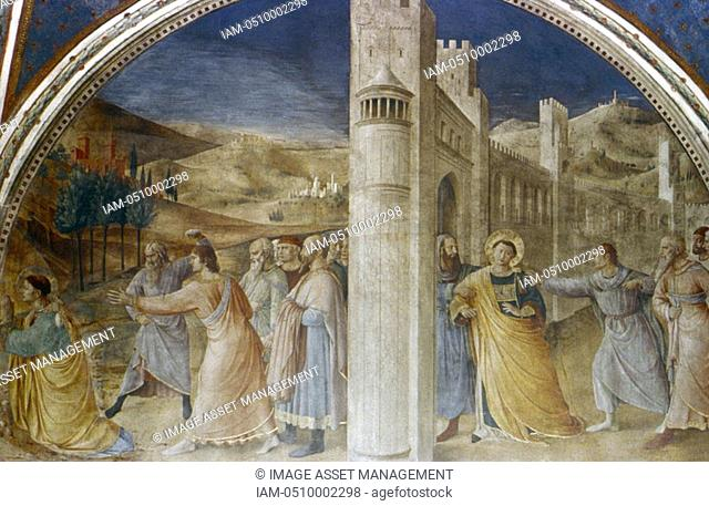 Fra Angelico Guido di Pietro/Giovanni da Fiesole c1400-55 Italian painter  'Arrest and Stoning of St Stephen' Fresco, Chapel of Nicholas V, Vatican Palace