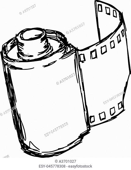 camera roll vector illustration sketch hand drawn with black lines, isolated on white background
