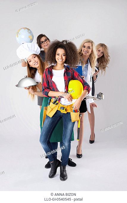 Different occupations of young women. Debica, Poland