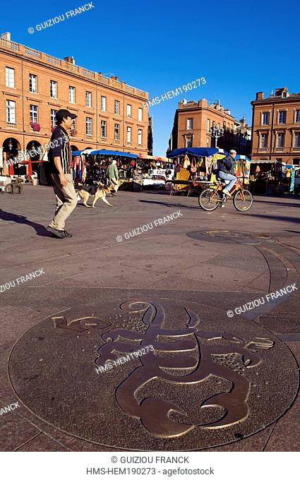 France, Haute Garonne, Toulouse, Place du Capitole, sign of the zodiac, Scorpio, by Raymond Moretti