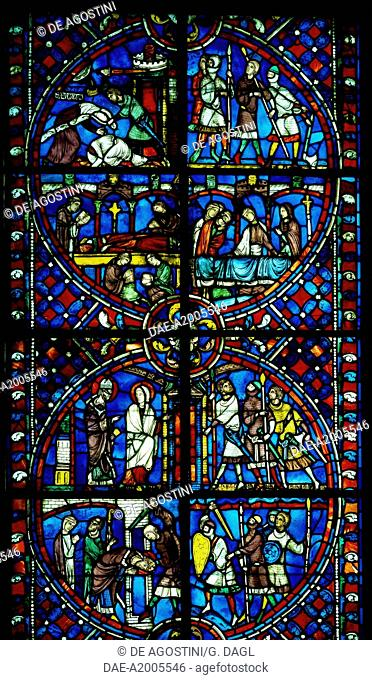 The history of St Nicasius and his sister St Eutropia, 1210-1220, stained-stained-glass, Soissons Cathedral, Picardy. France, 13th century