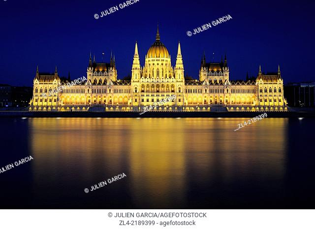 The Hungarian Parliament Building in the evening. Hungary, Budapest, banks of Danube river