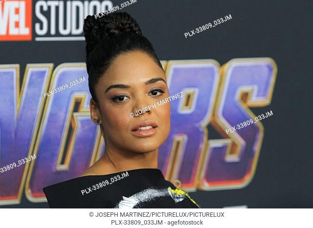 "Tessa Thompson at The World Premiere of Marvel Studios' """"Avengers: Endgame"""" held at the Los Angeles Convention Center, Los Angeles, CA, April 22, 2019"
