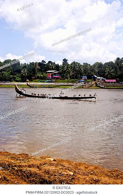 Snake boat race on Pampa River at Onam Festival, Aranmula, Kerala, India