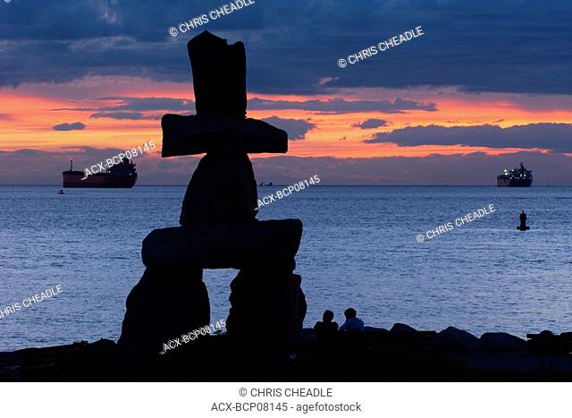 An Inukshuk, the Symbol of the 2010 Vancouver Olympics, English Bay, British Columbia, Canada