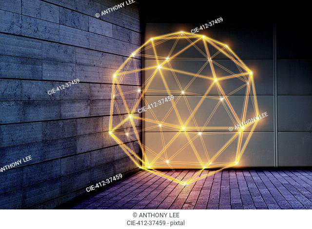 Illuminated geometric pentakis dodecahedron, technology connection concept