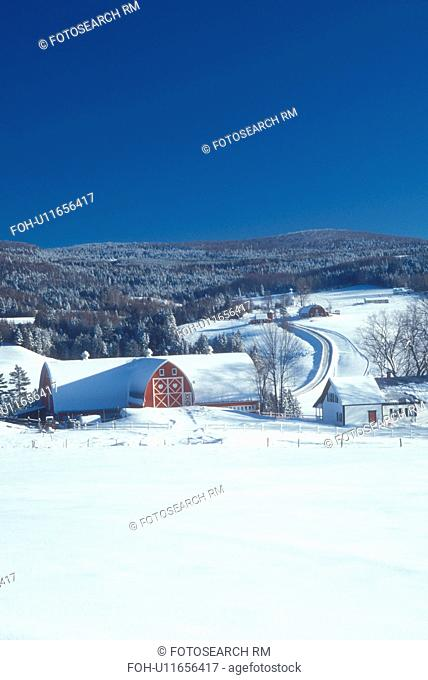 Vermont, red barn, VT, Scenic view of Diamond Heart Farm under a blue sky on a clear day in East Albany in the winter