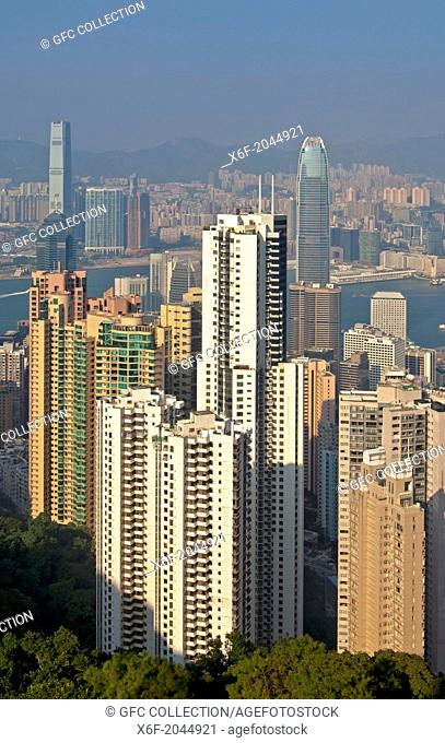High-rising residential buildings and office towers in the Central District, Hong Kong