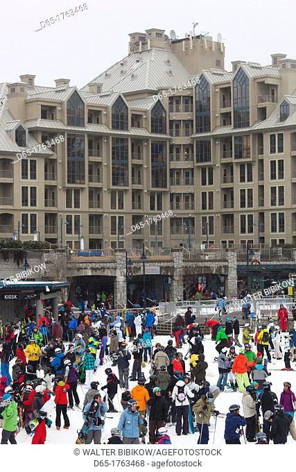 Canada, British Columbia, Whistler, Whistler Village, skiers, NR