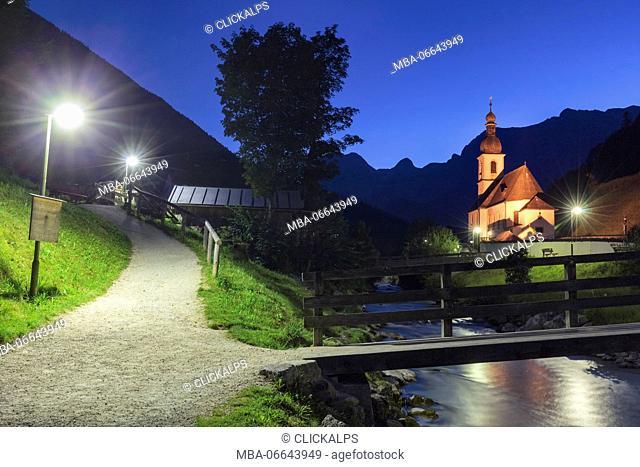 Europe, Germany, Ramsau at Berchtesgarden, the Church of St. Sebastian by night