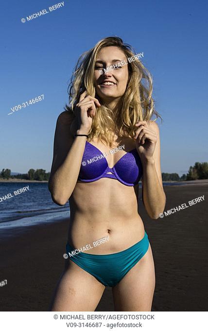 Woman outdoors wearing lingerie