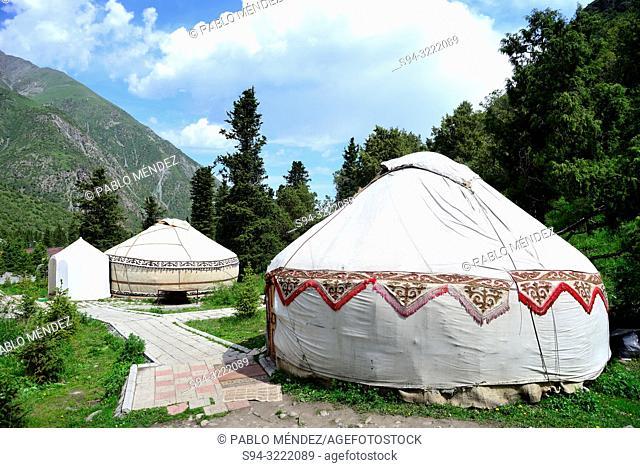 Decorative yurts in Ala Archa national park, Chui province, Kyrgyzstan