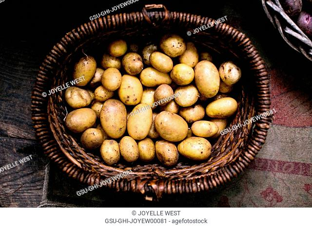 High Angle View of Potatoes in Basket