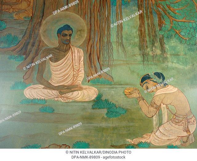 Fasting Buddha & Sujata offering milk painting on wall of Mulgandha Kuti Vihar , Sarnath , Uttar Pradesh , India