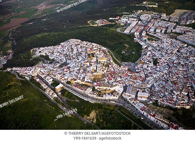 Aerial view of 'Vejer de la Frontera' small white village from Costa de la Luz Cádiz area, Spain