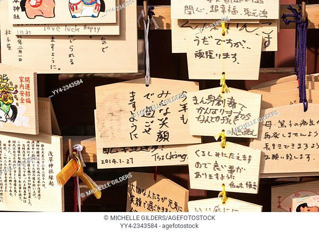 Japanese prayer plaques (boards), Ema, left by Shinto worshippers, Asakusa Shine, Shinto temple, Senso-ji, Asakusa, Tokyo, Japan
