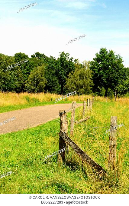 Corner of fenced in field and pathway. Shot in Heerlen, in the Limburg province of the Netherlands