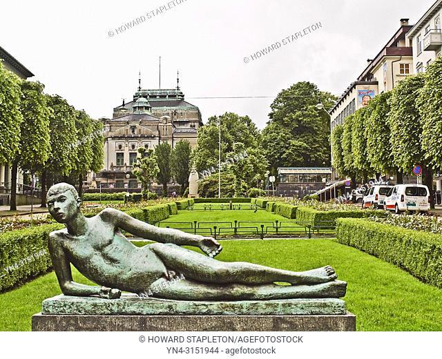 Lying Poet Sculpture by Hans Jacob Meyer at Ole Bull Plass. Bergen, Norway