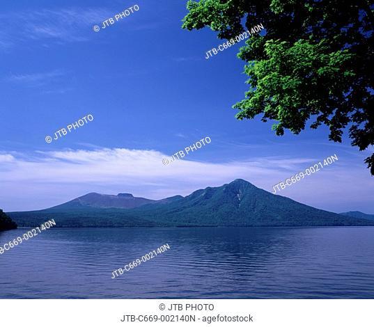 Mountain Blue sky Tree Early summer Lake Shikotsu Chitose Hokkaido Japan