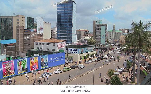 Busy street scene in Nairobi, Kenya