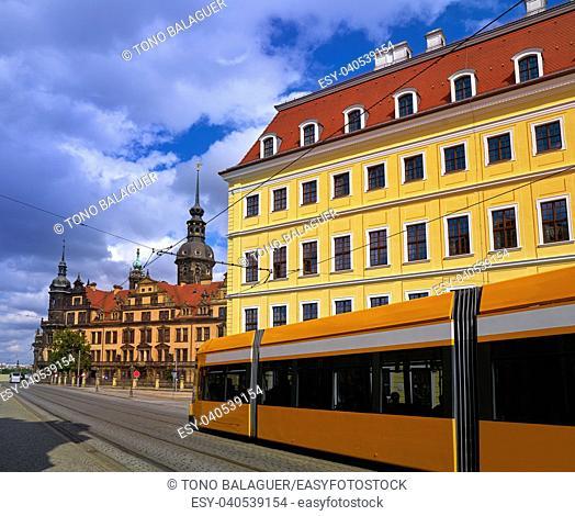 Dresden facades street near Zwinger in Germany