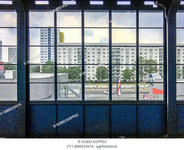 Berlin, Germany, View through an S-Bahn Window towards oppsite Apartment Buildings