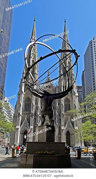 Atlas statue at Rockefeller Center and St Patrick's Cathedral , New York City, United States, North America
