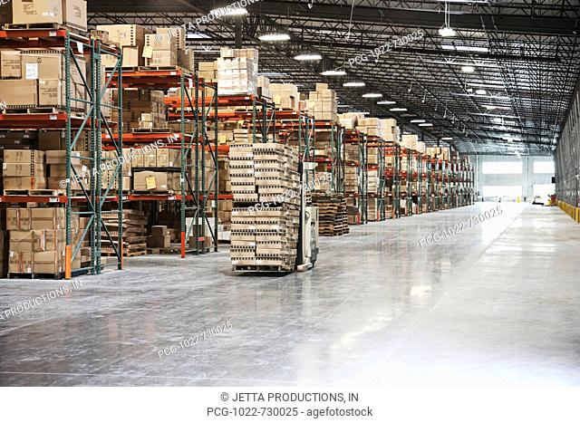 Forklift Moving Product in a Warehouse