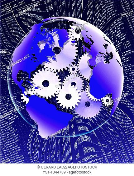 SYMBOLIC IMAGE WITH THE EARTH AND GEARS