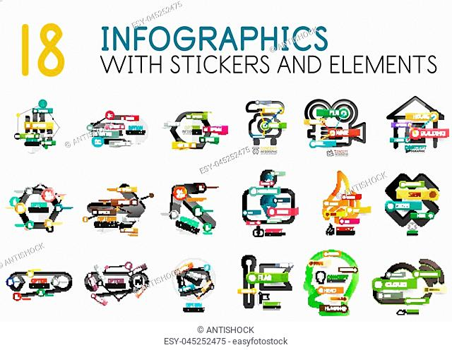 Mega collection of vector digital infographics diagram template with stickers. Option info banners for business presentation or web site design interface